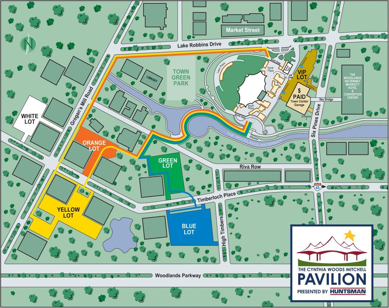Pavilion Public Parking And Pathways Map Cynthia Woods Mitchell