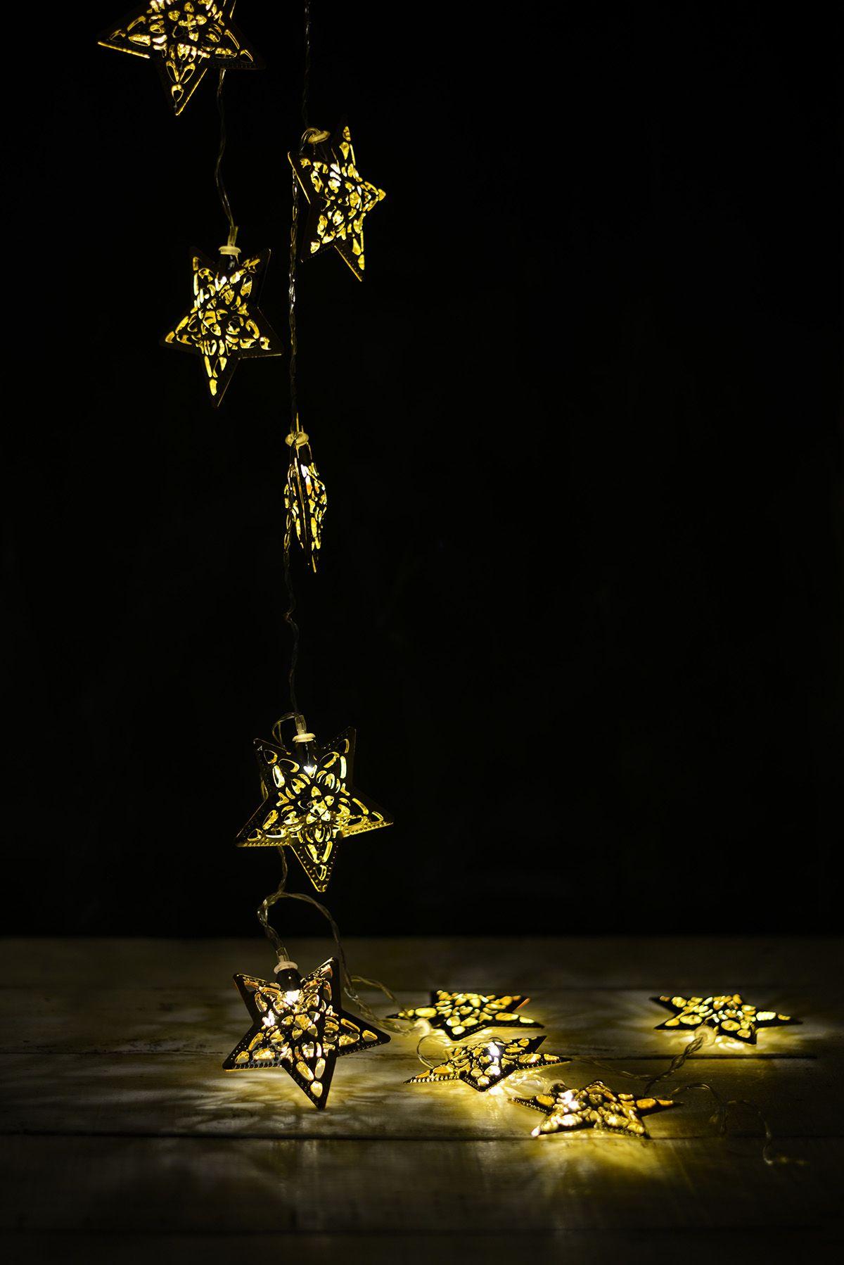 Led Lights Gold Star Warm White 10ct 6ft