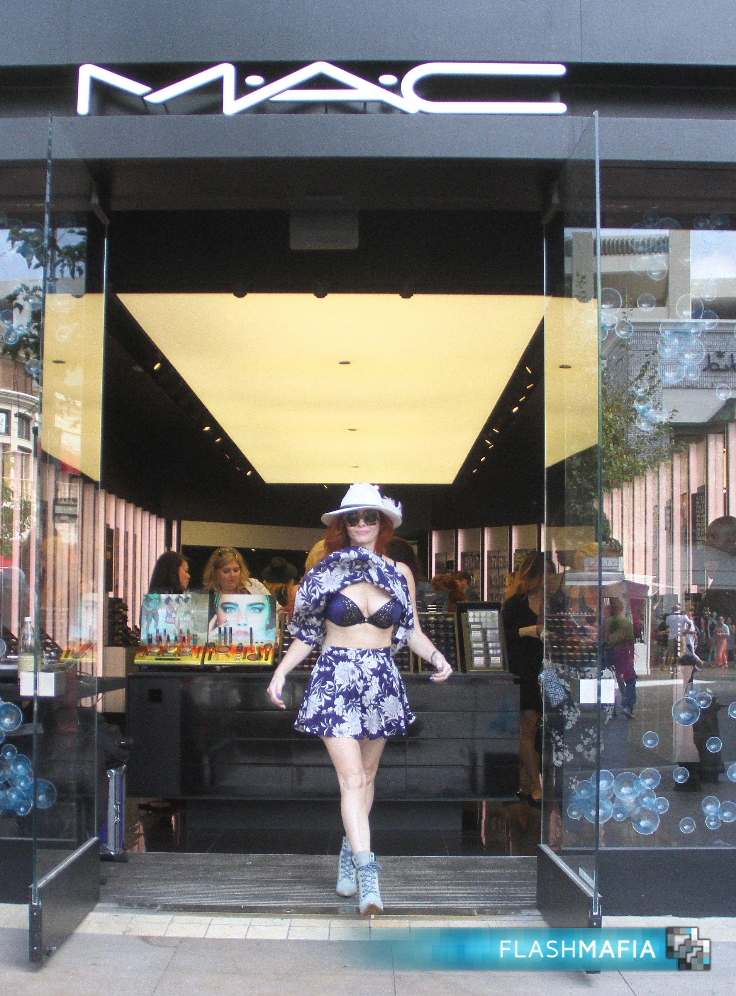 Phoebe Price Suffers Wardrobe Malfunction Outside MAC On Flashmafia