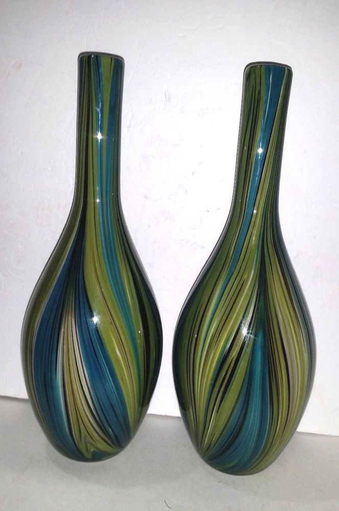 Pair Large Mid Century Modern Cased Art Glass Vases Chartreuse