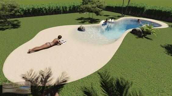 Piscina con dos playas banco de burbujas piscinas de arena natursand mediterranea casas - Burbujas para piscinas ...