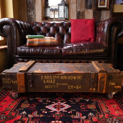 INDUSTRIAL military factory AMMO CHEST BOX storage COFFEE TABLE shabby TV STAND   eBay - this could be so close to our den, take away the rug: