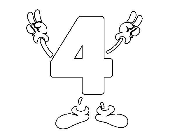 Dibujo De Numero 4 Para Colorear Dibujos Net Dibujos Con Numeros Colorear Online Y Dibujos