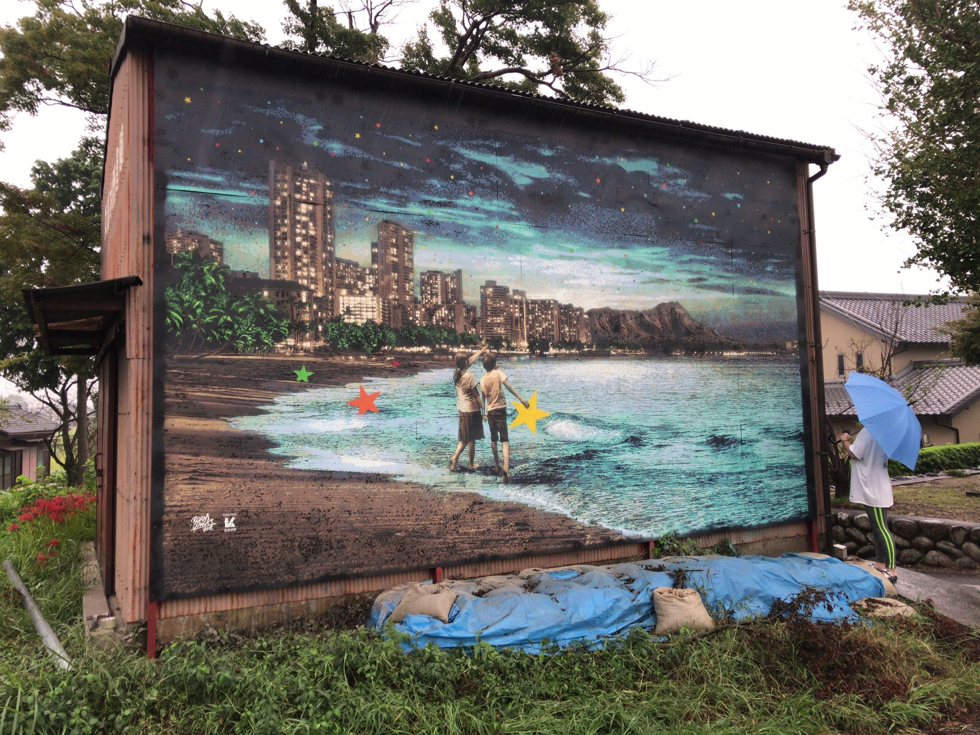 """Roamcouch's new mural """"When You Wish Upon A Star -Hawaii"""" in Gifu ..."""
