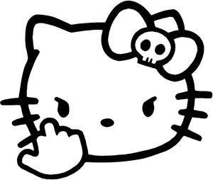 Amazoncom Custom Hello Kitty Middle Finger Vinyl Decal Sticker - Hello kitty custom vinyl stickers
