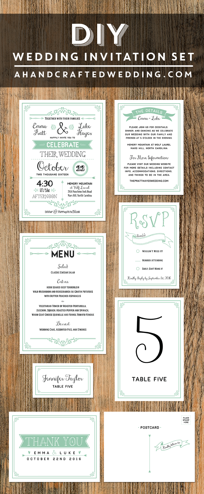 Mint DIY Wedding Invitation Set ahandcraftedweddingcom