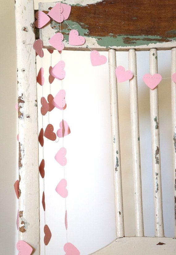 Blushing Hearts pale pink paper garland - 10 feet (3 metres) Wedding ...