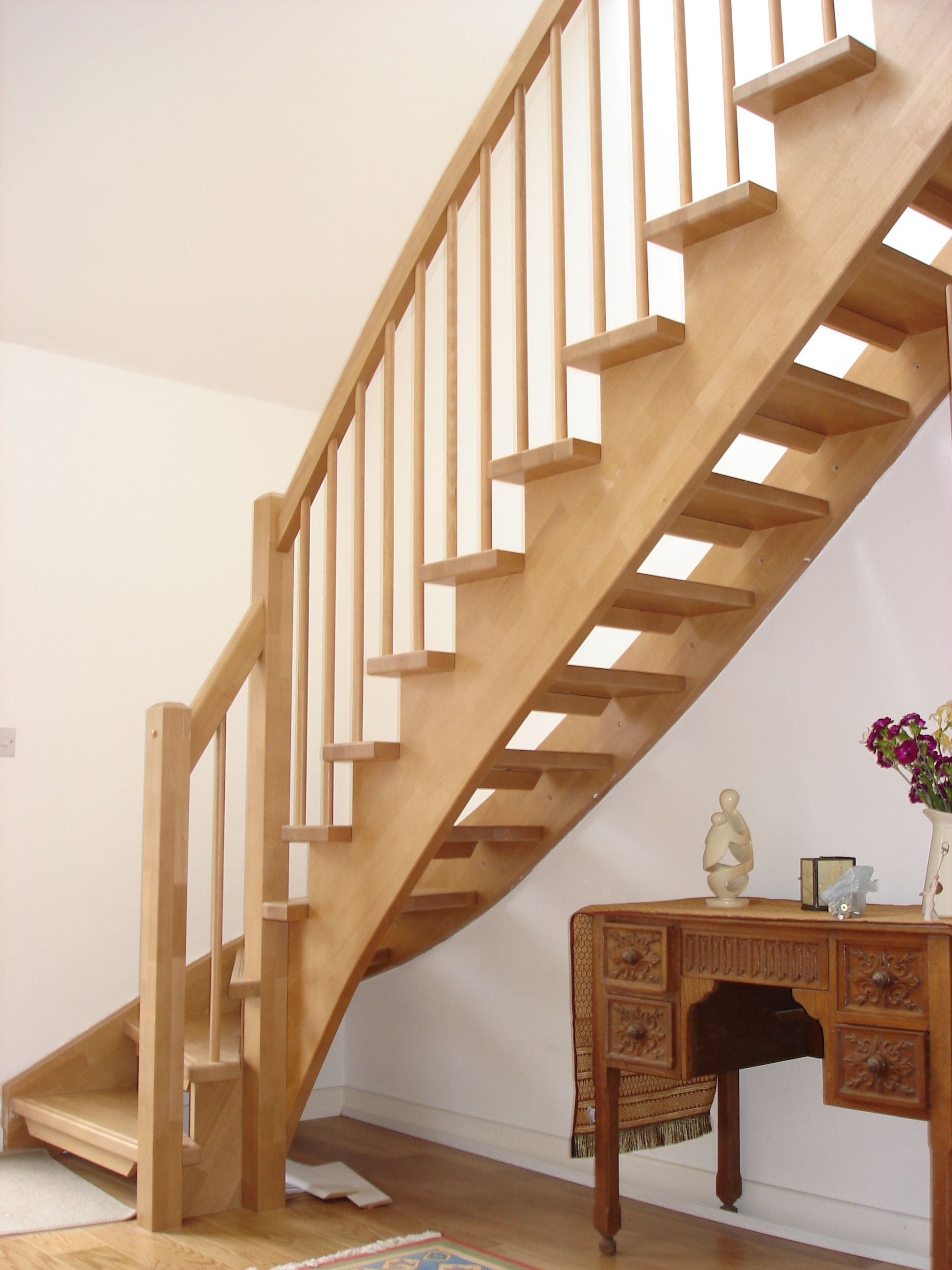 Best Gorgeous Unfinished Pine Wood Open Staircase With White 400 x 300