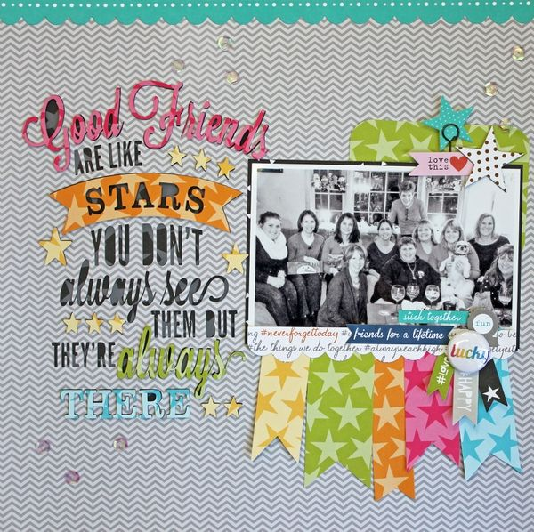 #papercraft #scrapbook #layout Friends are like Stars by ekskou @2peasinabucket