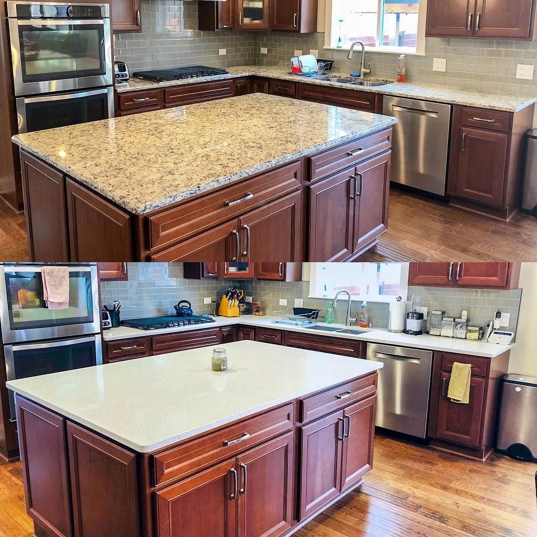 So We Decided That We Wanted To Change Our Granite Countertops For Quartz Countertops The Quartz Doesn New Countertops Granite Countertops Quartz Countertops