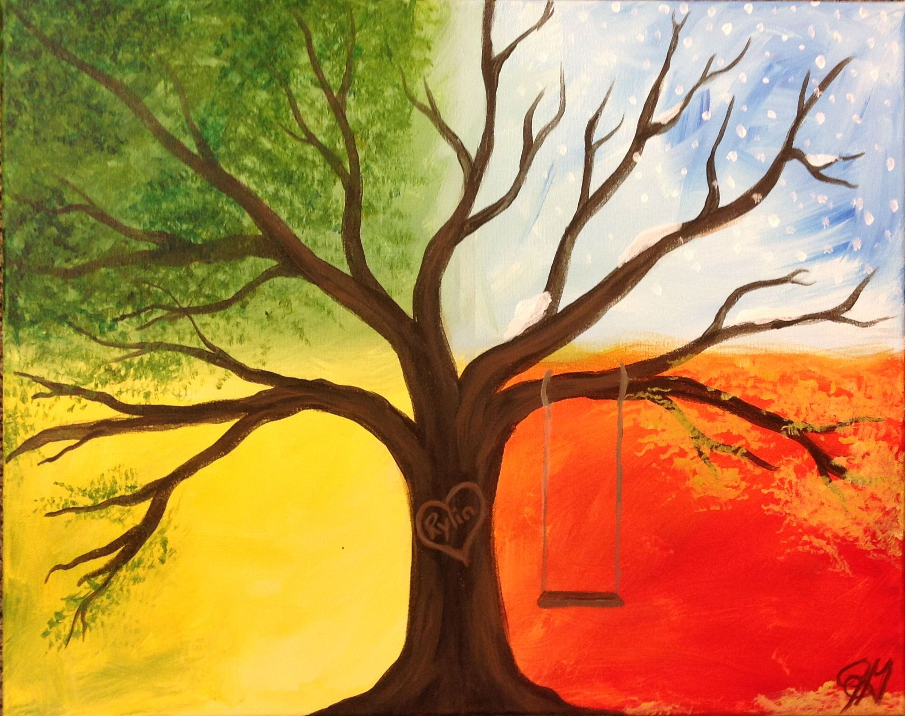 Beginners Acrylic Painting Trees