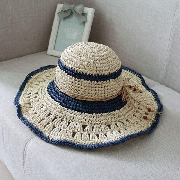 c65317172dd Ladies wide brim sun hat with bow handmade crochet straw hat for summer