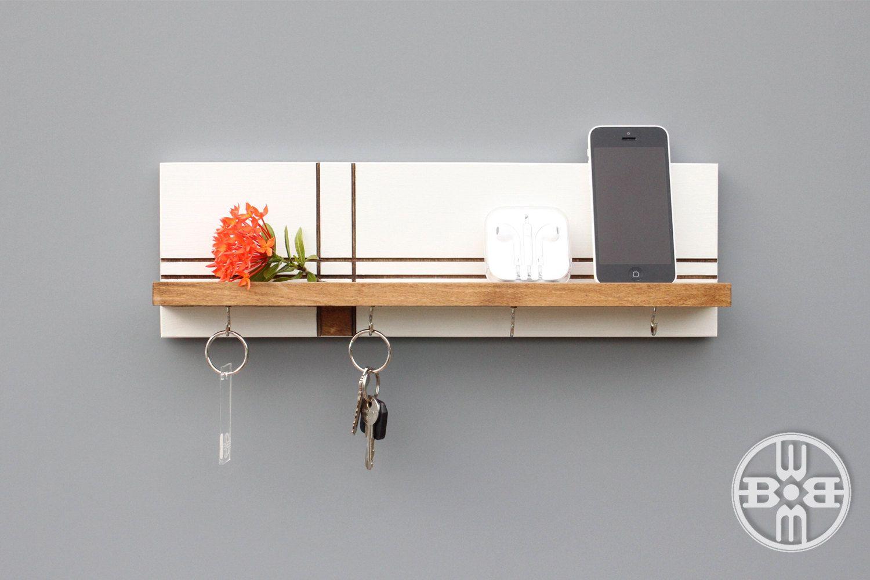 Wood Shelf With Key Hooks Entryway Organizer Holder For Wall Mid Century Modern Cabinet Hanger Decor
