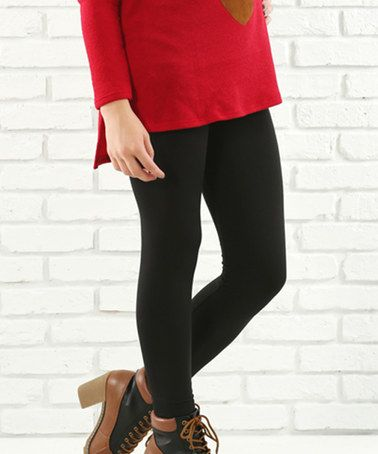 Another great find on #zulily! Black Fleece-Lined Leggings - Plus #zulilyfinds