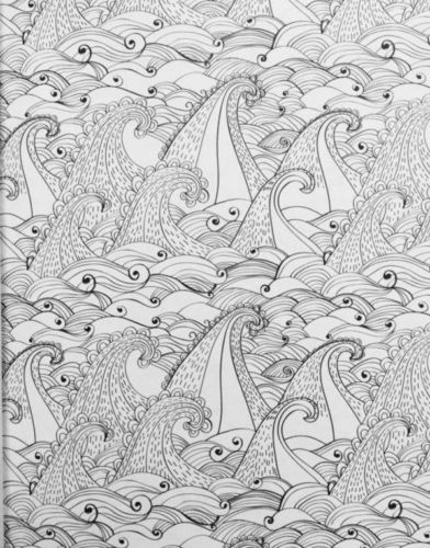 Coloring-Book-Adult-Coastal-Sea-Wave-Fish-Ship-Art-Page-Calm-Therapy-Meditative