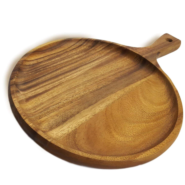 Amazoncom Roro Acacia Wood Round Tray For Small Pizzas
