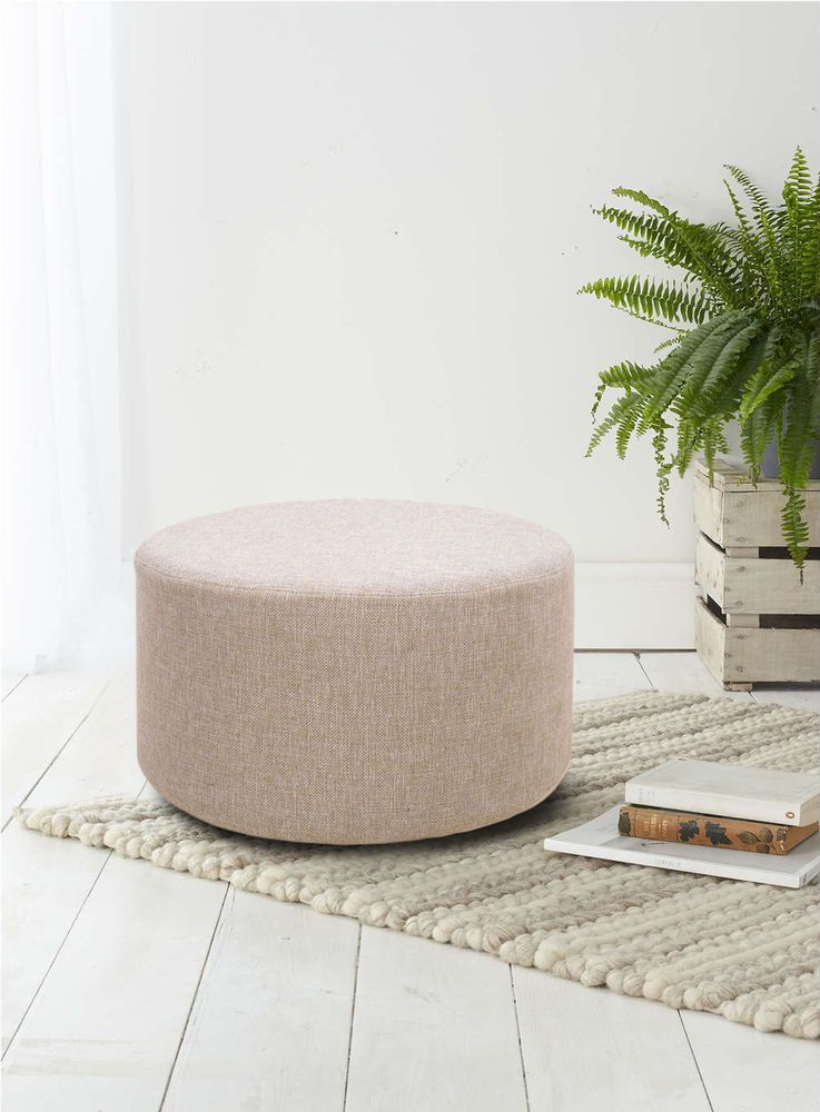 Footstool Pouffe Rounded Grey White Design Modern Home Decor