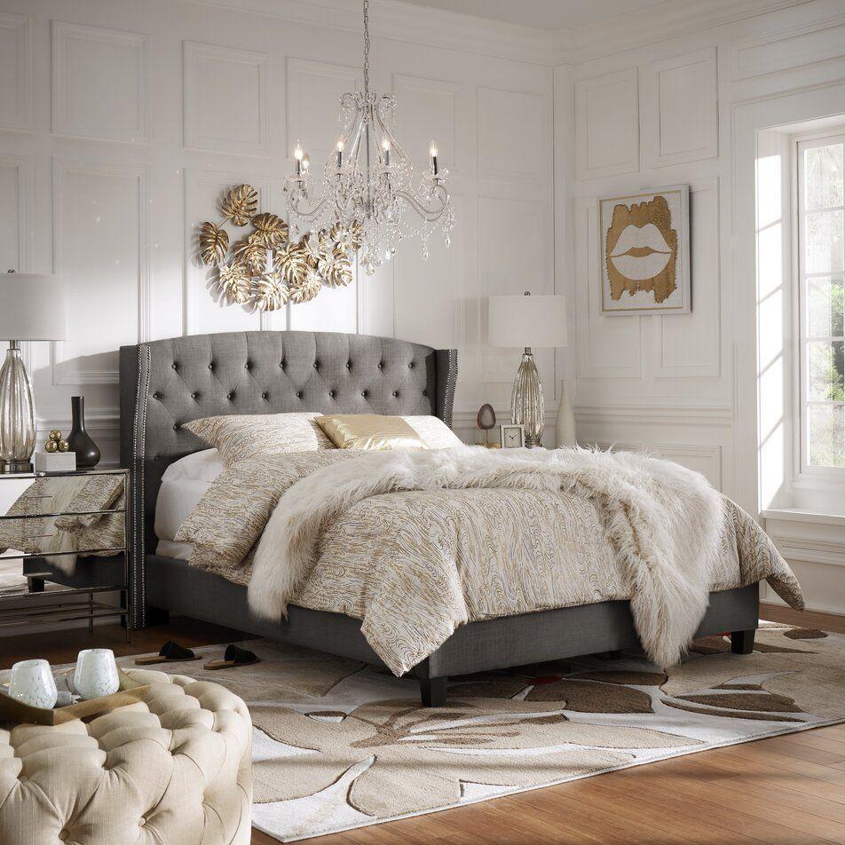2000+ Glam Design Ideas Wayfair Upholstered panel bed