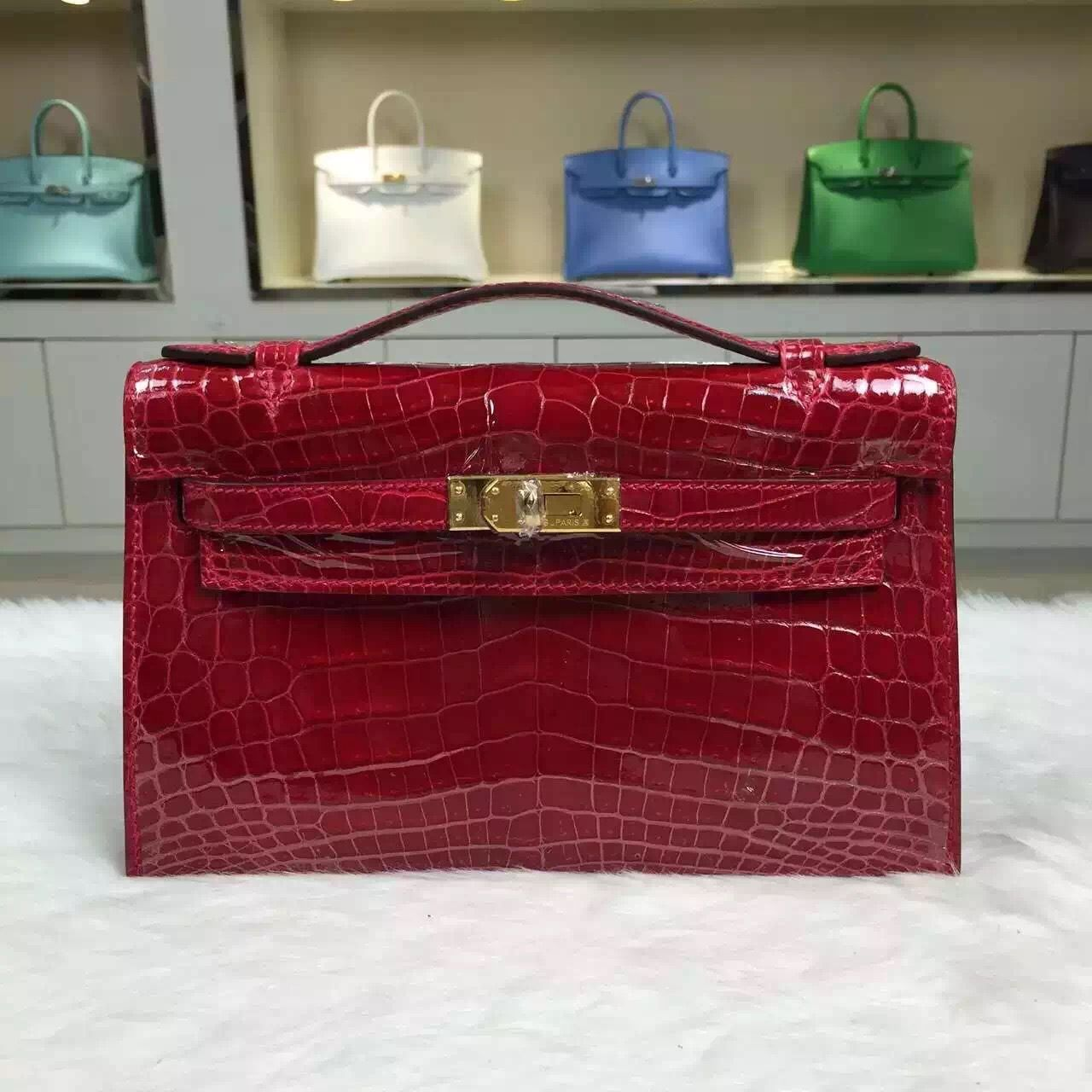 6cbe3ce866 Brand  Hermes  Style  Mini Kelly Pochette  Material  crocodile skin leather  Color Chinese Red  Size 22CM  Hardware  gold silver  Accessories  Padlock  and ...