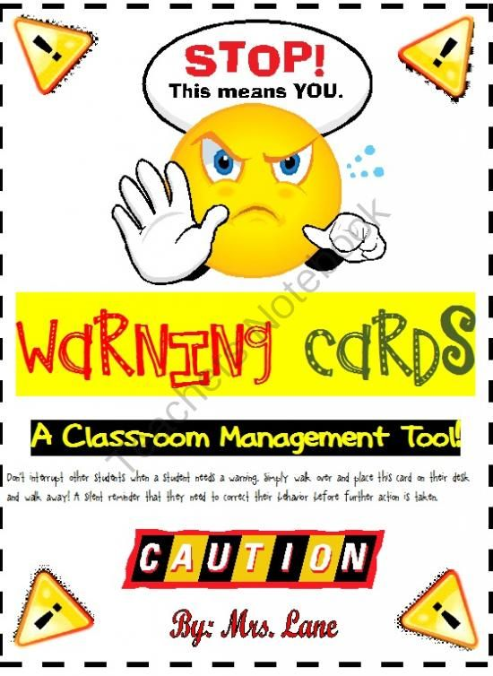 Warning Cards A Classroom Management Tool Don T Interrupt