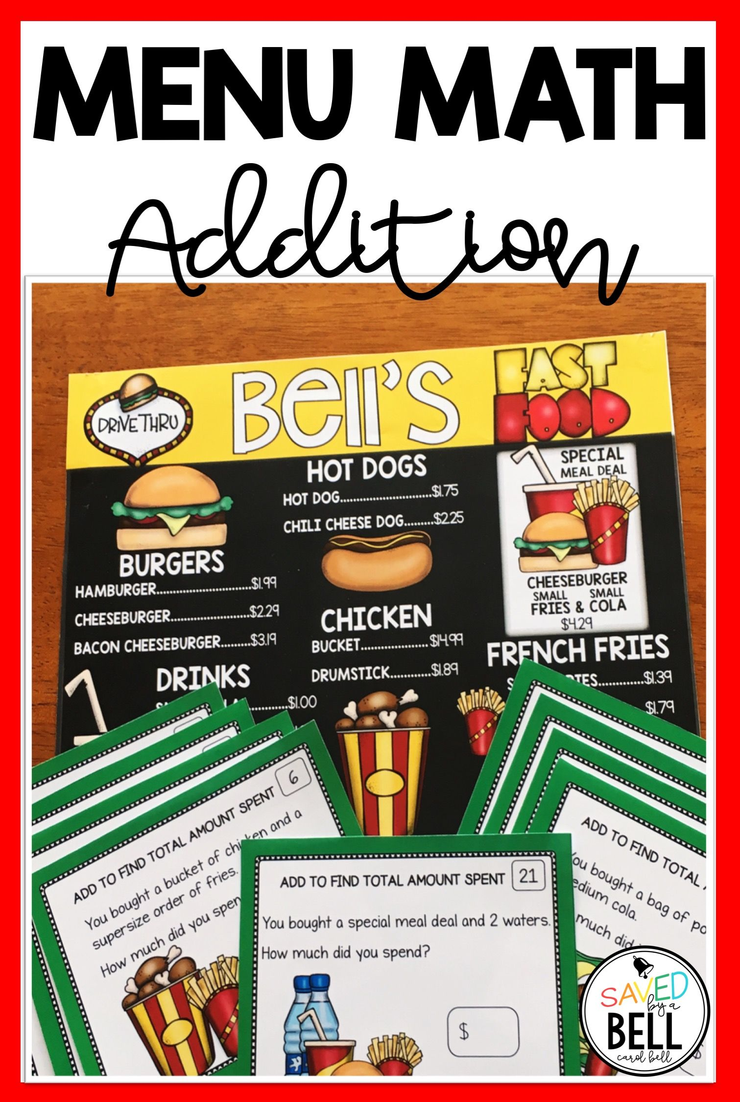 Addition Money Task Cards Menu Math