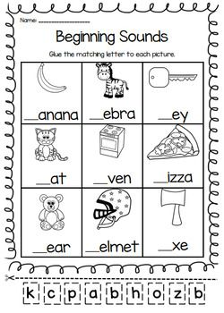Beginning Sounds Printable Worksheet Pack Pre K Kindergarten First Grade Phonics Kindergarten Beginning Sounds Worksheets English Worksheets For Kindergarten