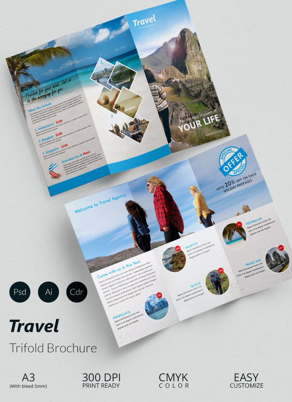 Travel A3 Trifold Brochure Template  Microsoft Trifold Template
