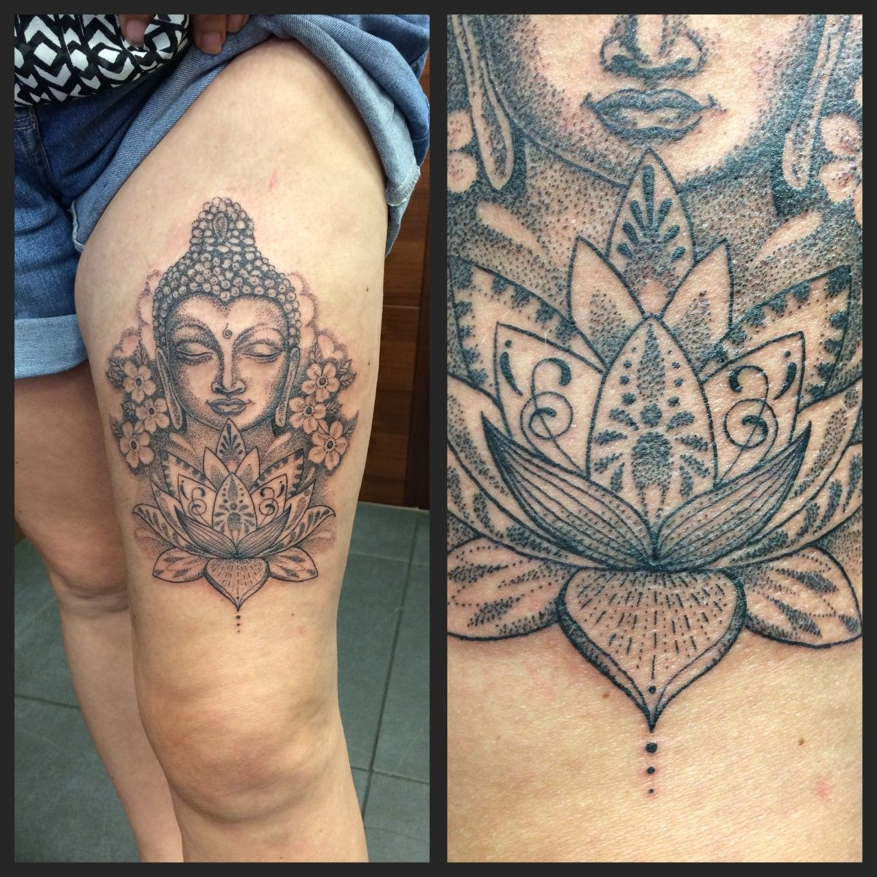 Pattern Work Buddha And Lotus Flower By Joanne Devilsown Devilsowntattoos Tattoos Leivcester Leicester Bhuddist Tattoos Buddah Tattoo Buddha Tattoo Design