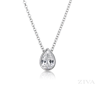 Make it 3 kt and 15 16 inch long chain pear or round cant pear shaped diamond necklace in bezel setting perfect way to reset your engagement diamond into a pendant you will wear every day mozeypictures Choice Image