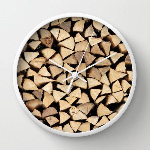 Firewood, Photo Wall Clock, Photograph, Modern Clock,Retro Wall Clock,Home Decor,Round Clock,Rustic Clock,Home Accessories,Interior Design
