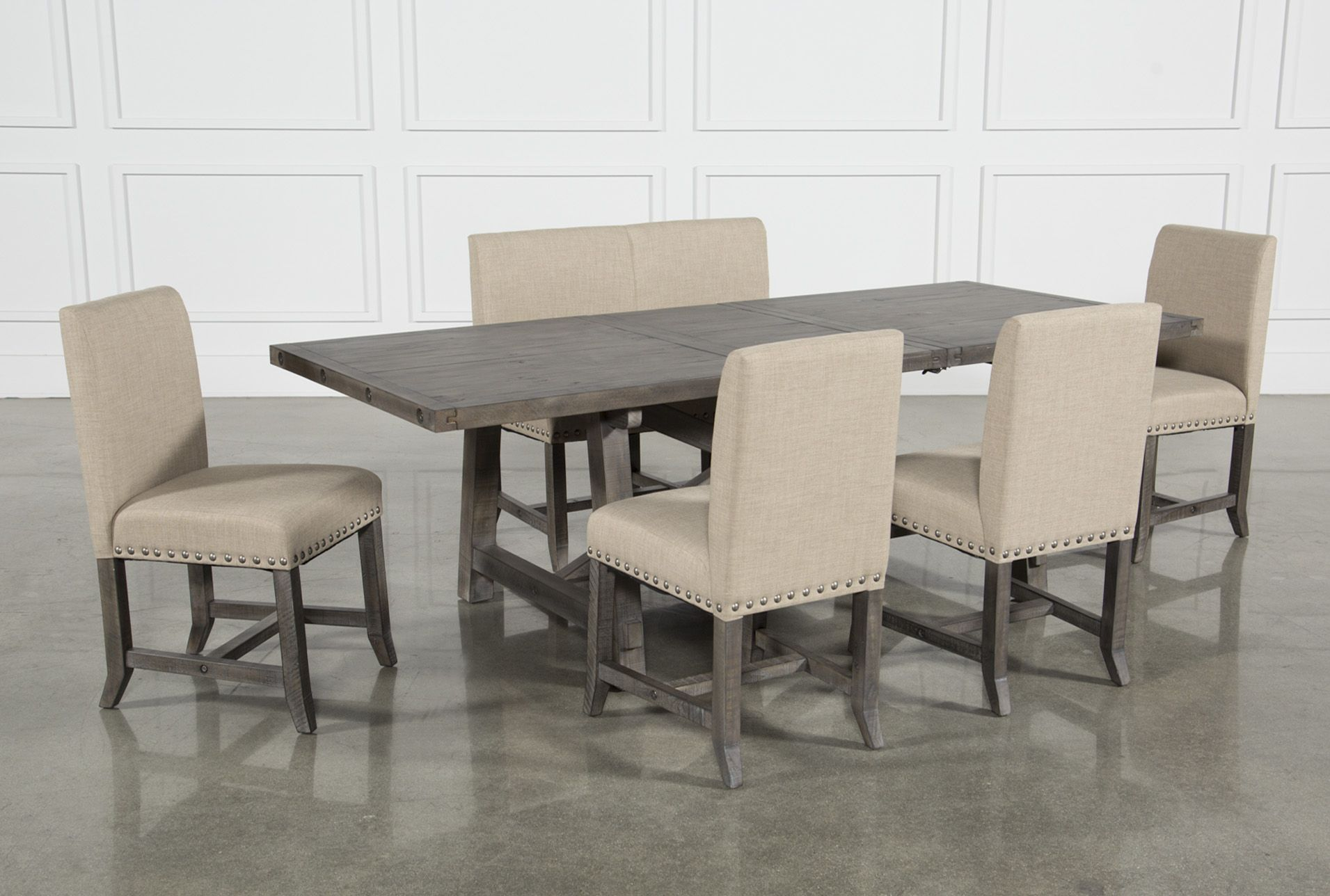 7427566dc5d Jaxon Grey 6 Piece Rectangle Extension Dining Set W Bench   Uph Chairs