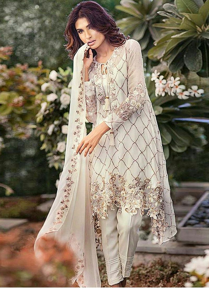 Lovable Off White Georgette Pant Style Pakistani Suit