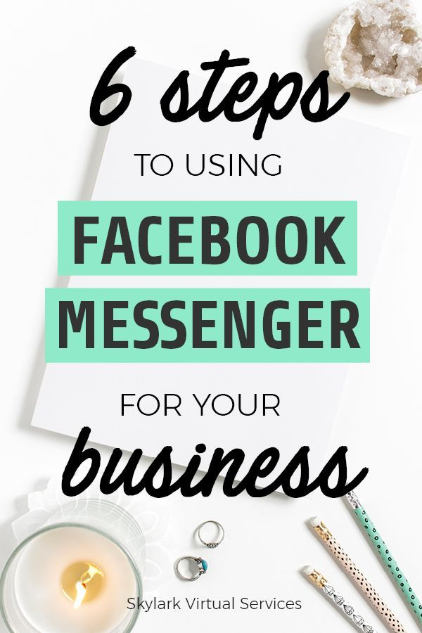 6 Steps to Start Using Facebook Messenger for Business Learn the basics of using Facebook Messenger for business to offer another, popular way for customers to reach out to you.  See how easy it is to set up with these six steps and get some ideas for the kinds of messages you might receive and send.  Plus get yourself prepared for the growing use of chatbots by making Messenger part of your business!