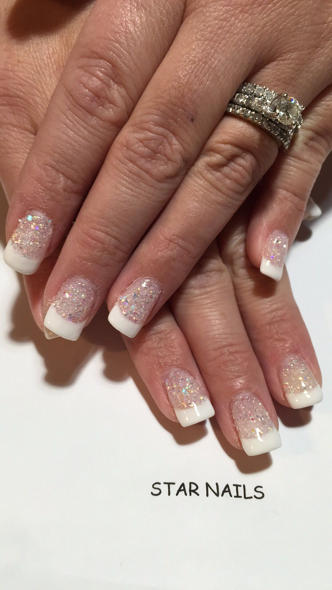 Gelous dip powder sparkle French manicure | Star nails pitman ...