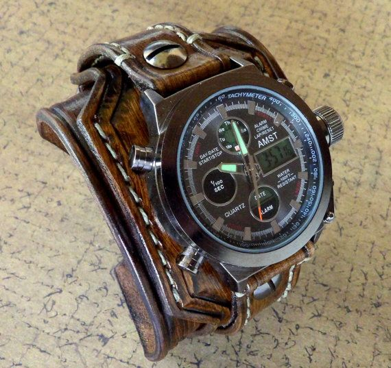 Digital leather watch Leather Cuff Wrist by CuckooNestArtStudio