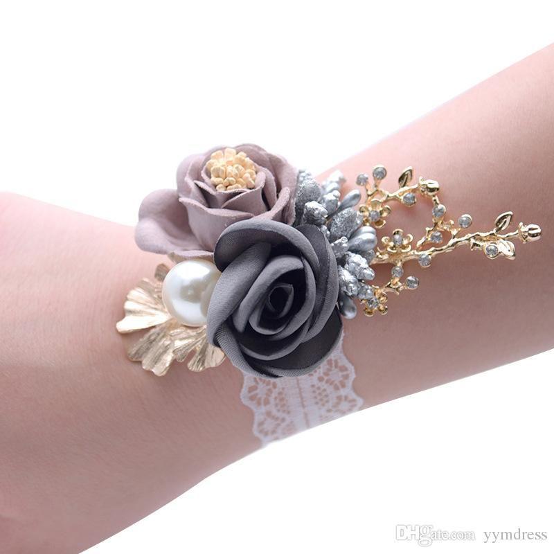 6a9bebd44f 2019 Beautiful Bride wrist flowers Sister Hand Flower bridesmaid ...