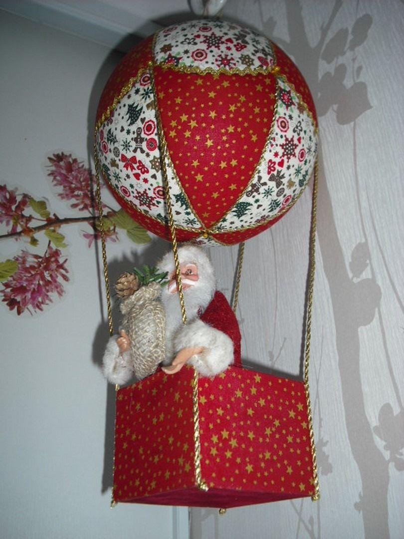 Montgolfi re suspendre avec p re no l fa on patchwork - Decoration boule de noel en polystyrene ...