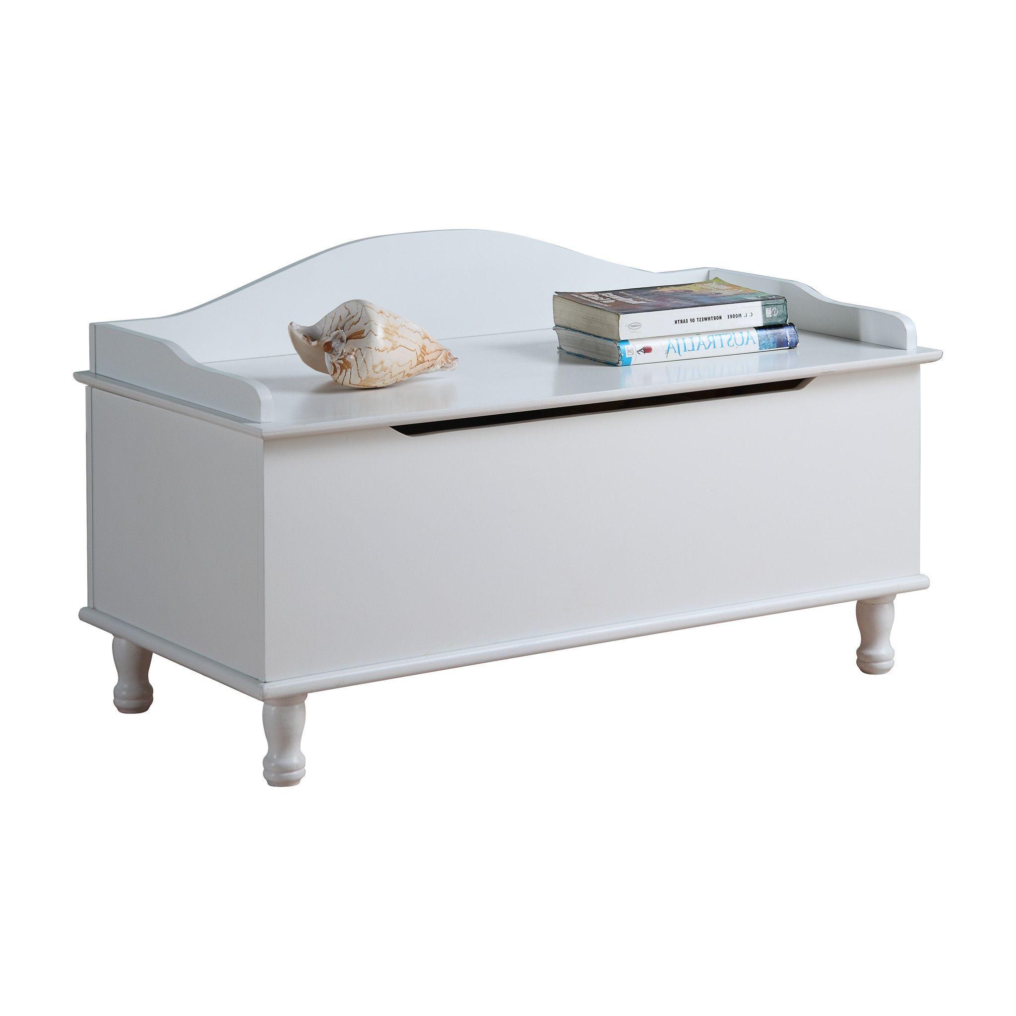 Pilaster designs white finish wood storage bench toy box chest