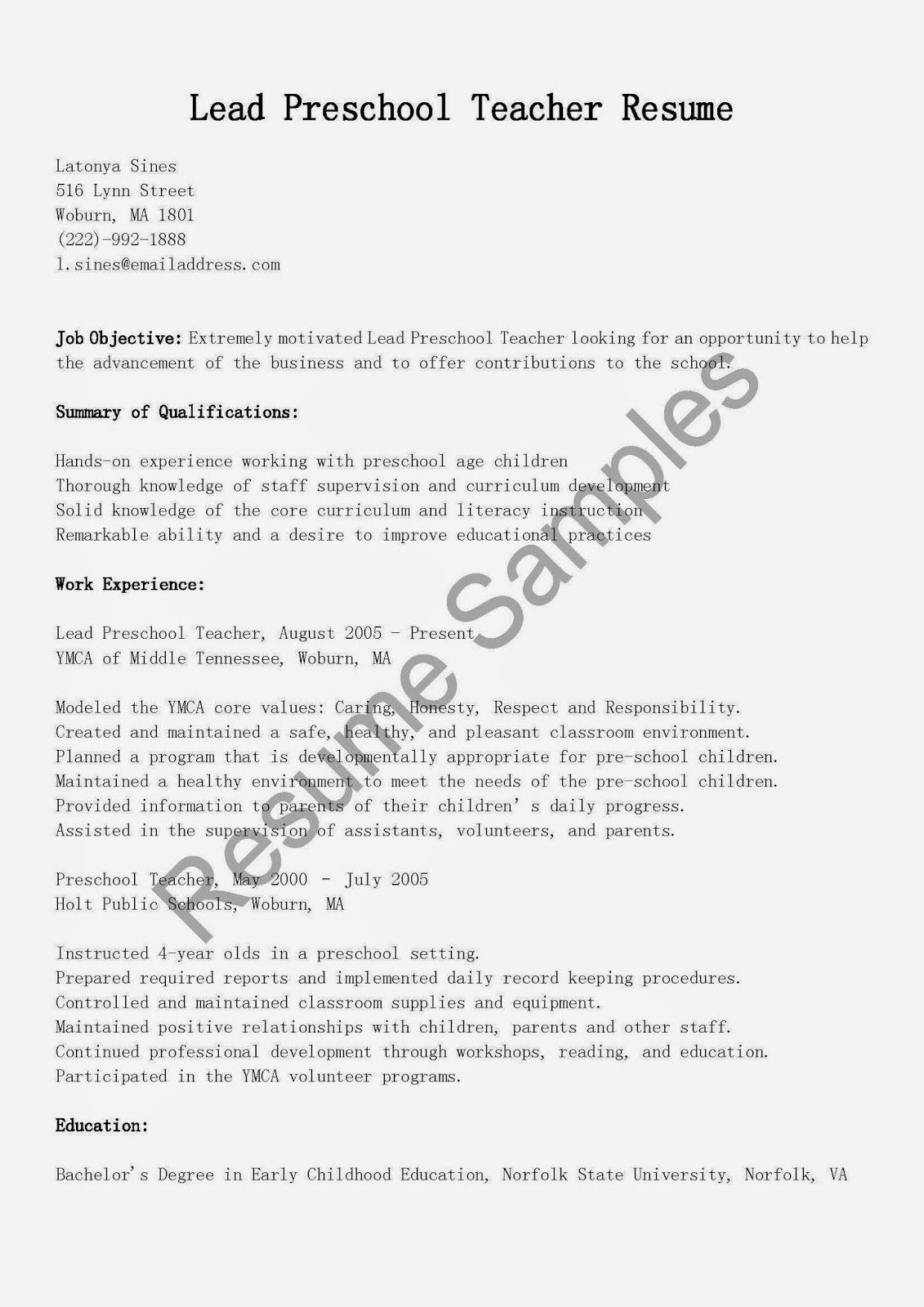 Preschool Teacher Resume Template Luxury Resume Samples