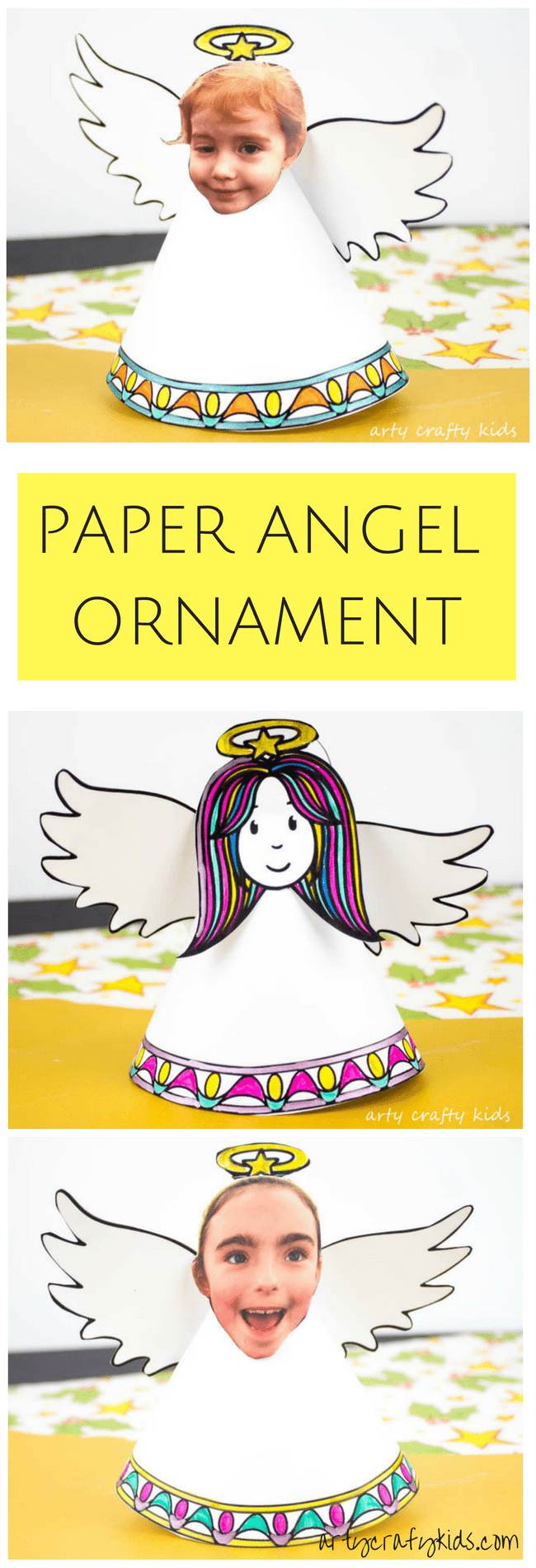 Paper angel christmas ornament crafty kids design color and
