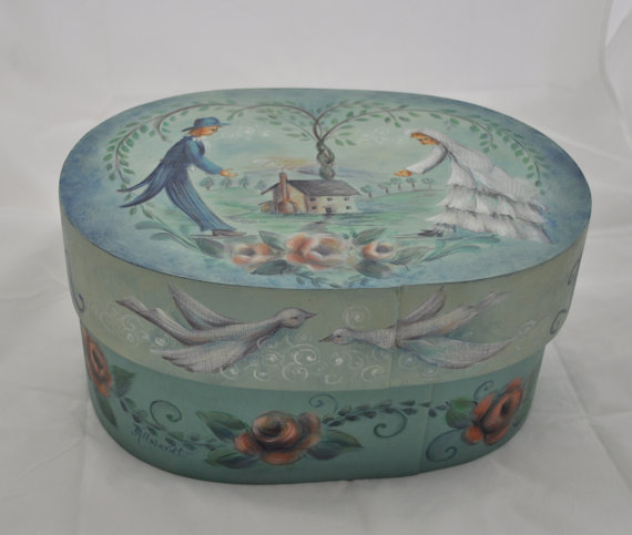 Bride's Box hand painted bentwood oval by folkhearts