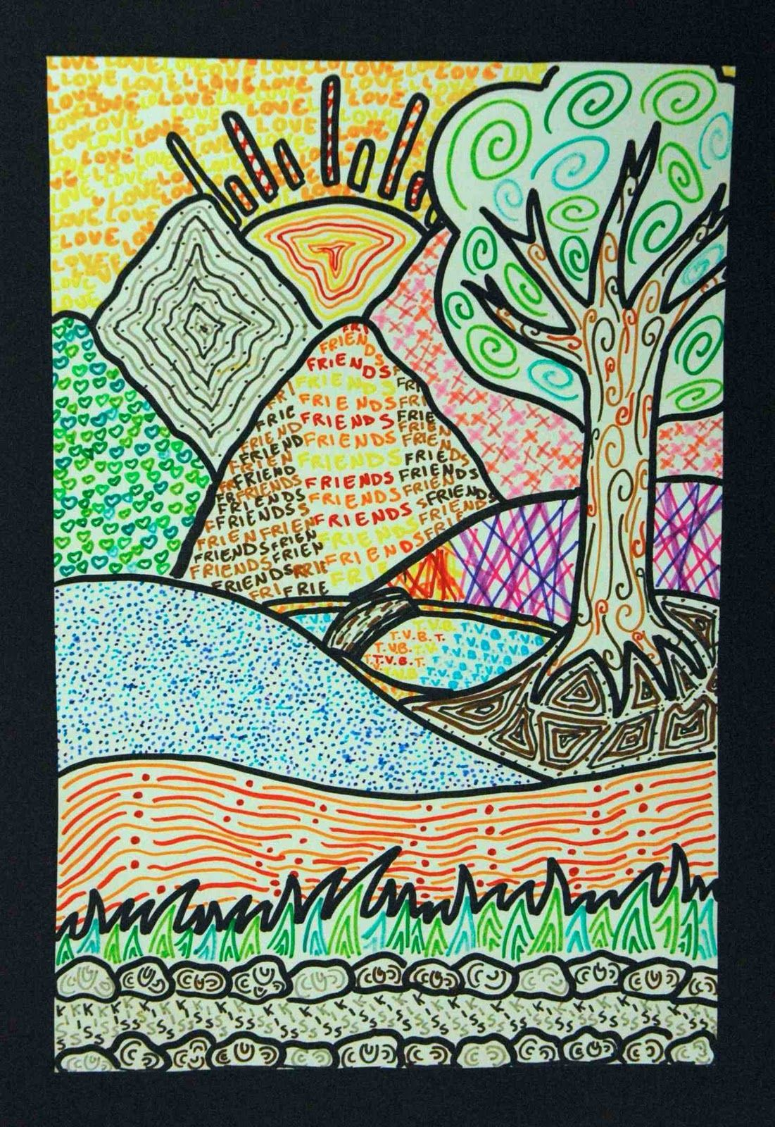 Cute Line And Pattern Lesson Landscapes Of Texture Landscape Art Lessons Art Lessons Elementary Homeschool Art
