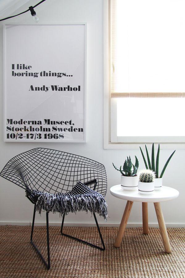 Via Bambula | Granit String Lights | Bertoia Diamond Chair | Moderna Museet Warhol Poster | Normann Copenhagen Tablo