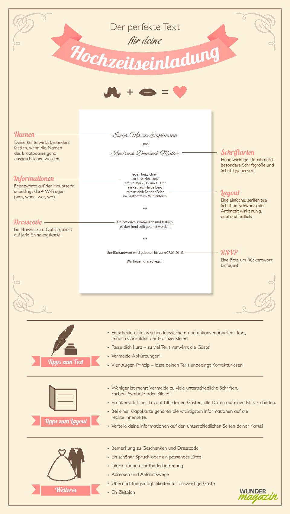 infografik zu hochzeitseinladung text | wedding invitations, Einladung