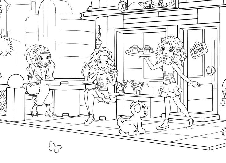 Lego Friends Outdoor Cafe Coloring Page Lego Coloring Pages Lego Friends Lego Friends Birthday