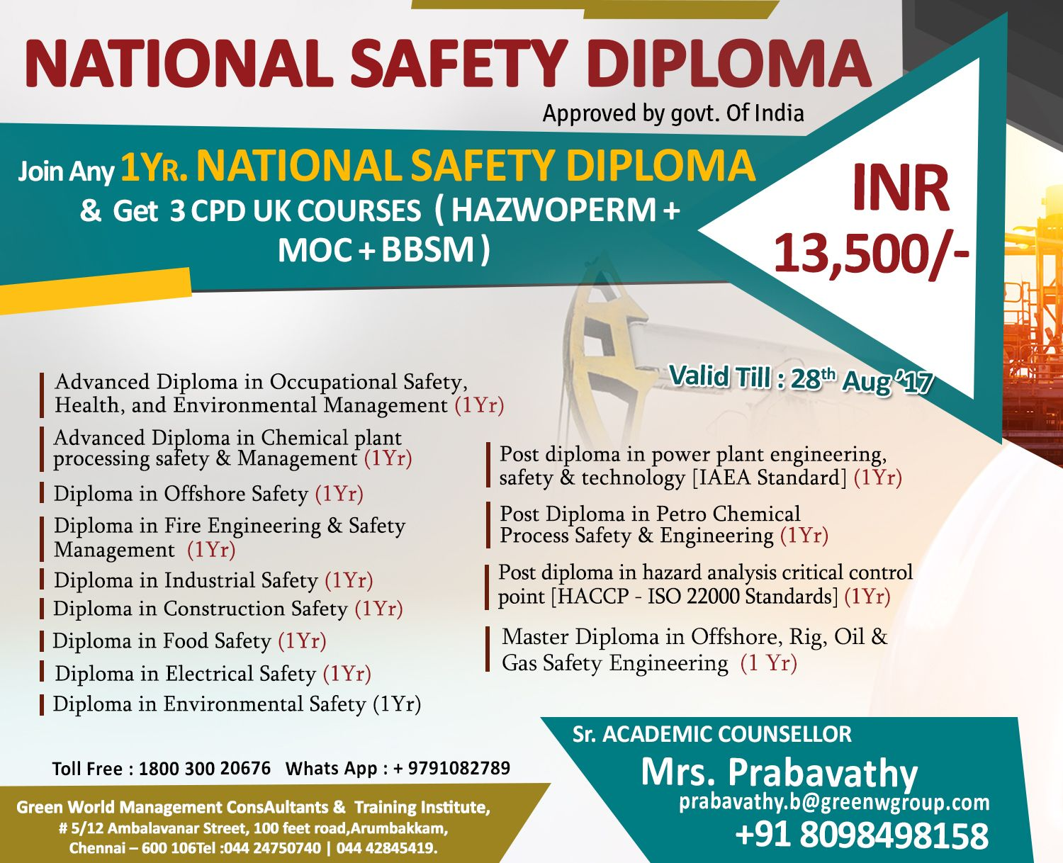 Safety Diploma Course In India Green World Group GWG Is The Leading Training Center For Professional Courses UAE And Dubai