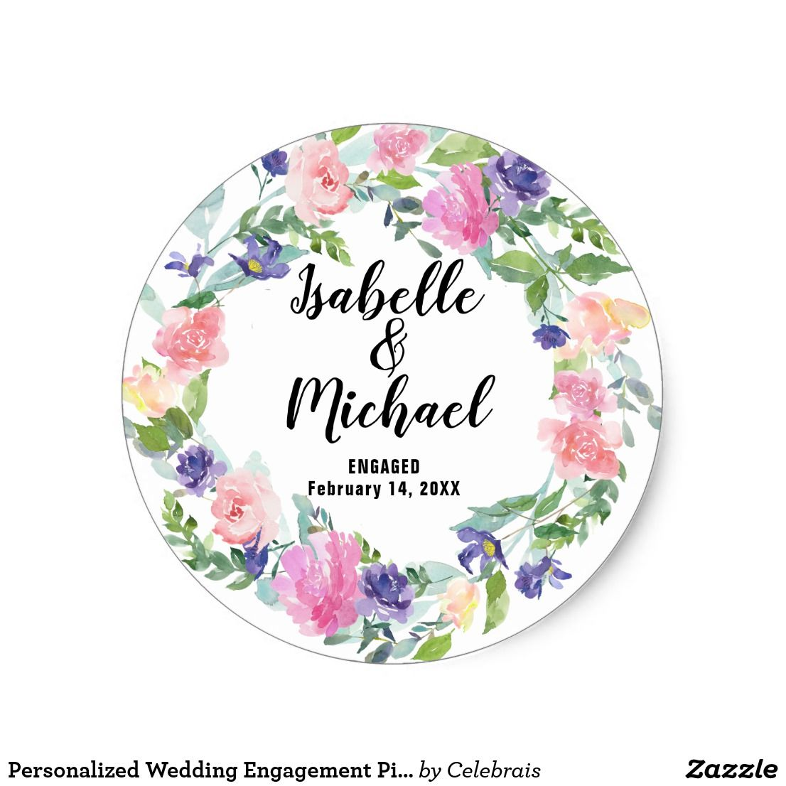 Personalized wedding engagement pink purple flower classic round sticker