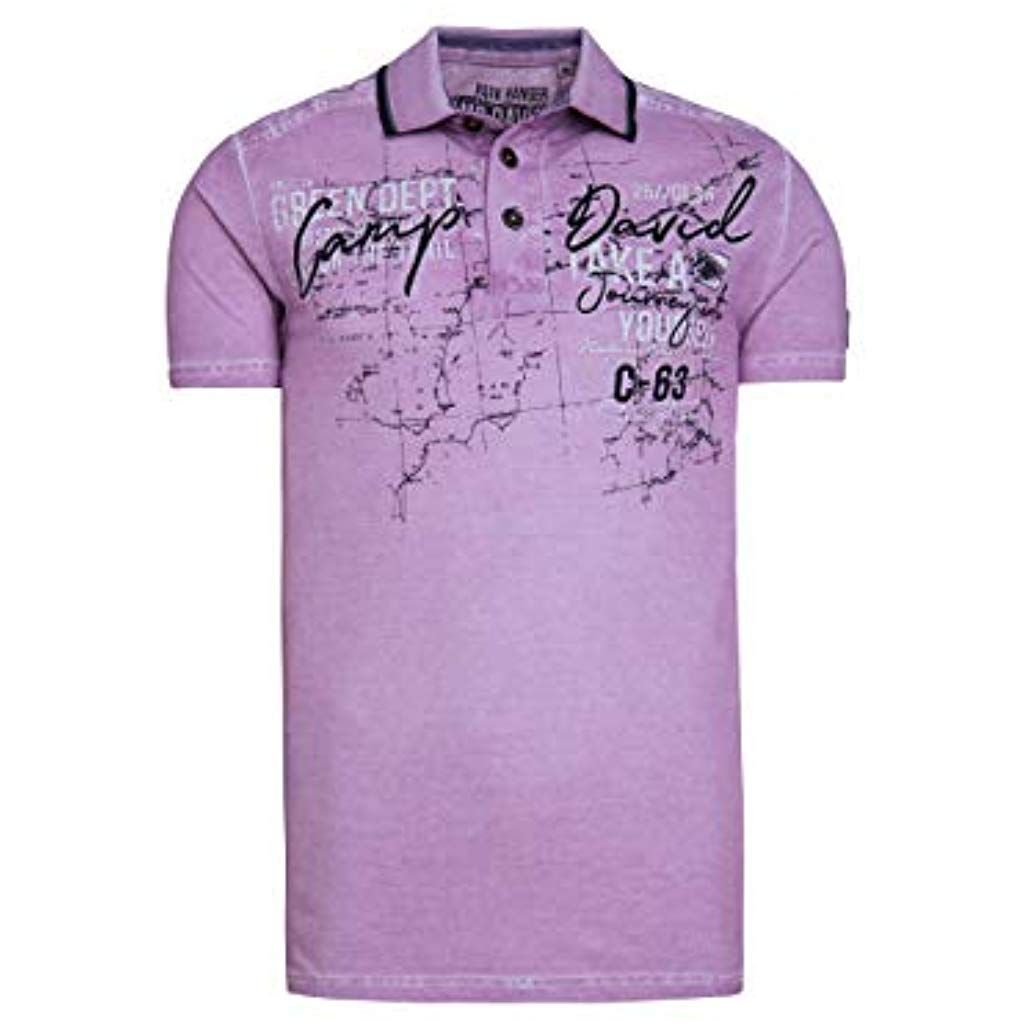reputable site top fashion affordable price Camp David Herren Oil Dyed Piquee-Polo mit Artwork ...