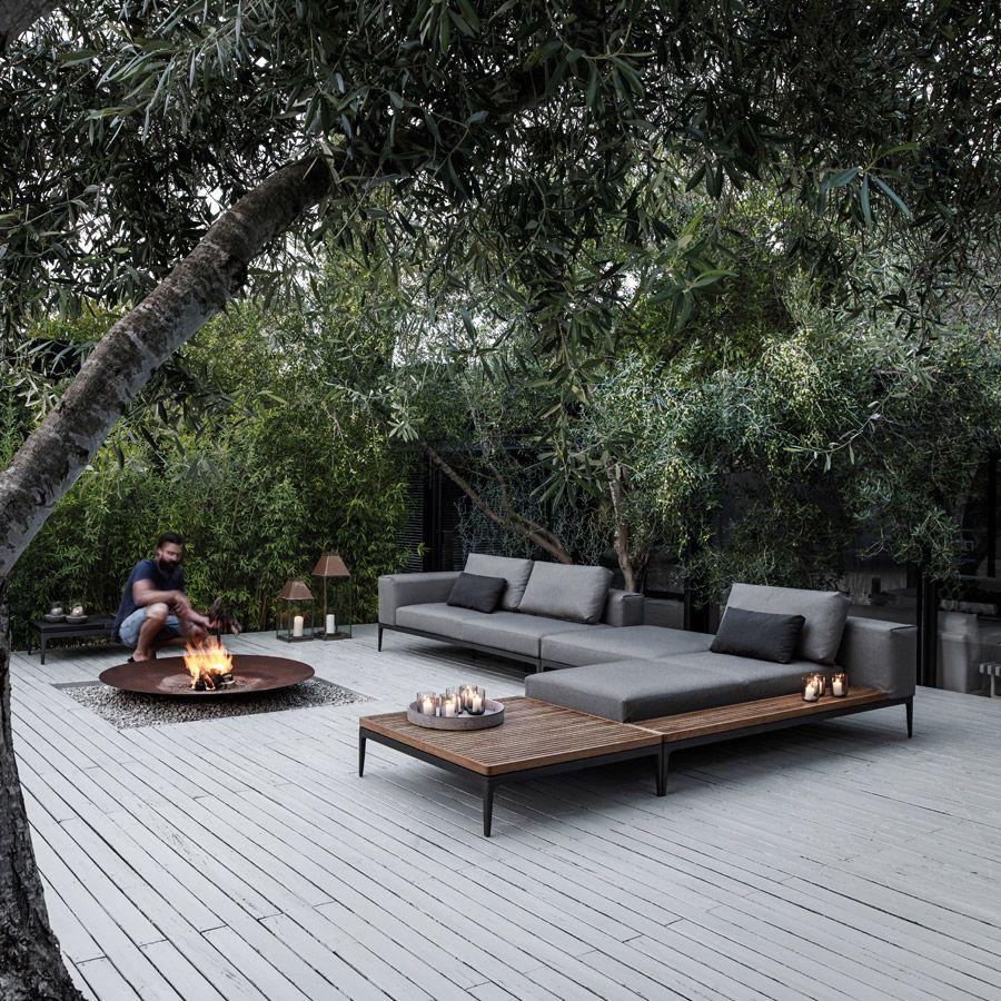 Gloster Grid Left End Unit Outdoor Design Backyard Outdoor
