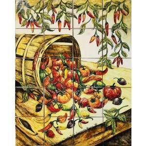 Chile Harvest Tile Mural $369.00.   Majolica pottery is a diverse category of clay arts under which, Spanish-influenced Talavera and Italian Maiolica are sub-genres.  Mexican Majolica primarily differs from traditional Talavera in the art form and use of colors.  Traditional Talavera is known for its intricate pattern work whereas Majolica uses more free-form designs and artwork.